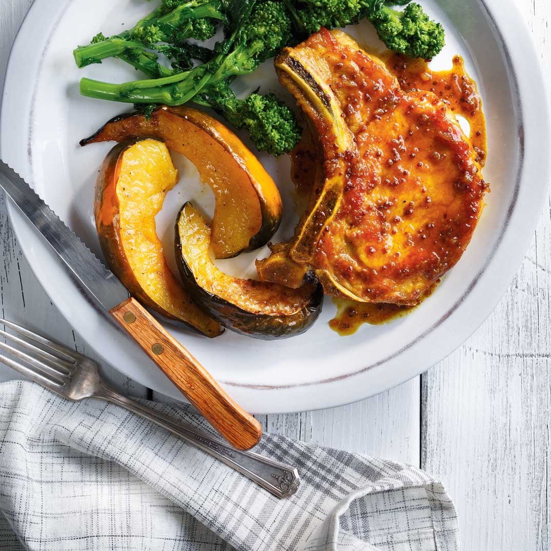 Curried Pork Chops with Roasted Squash