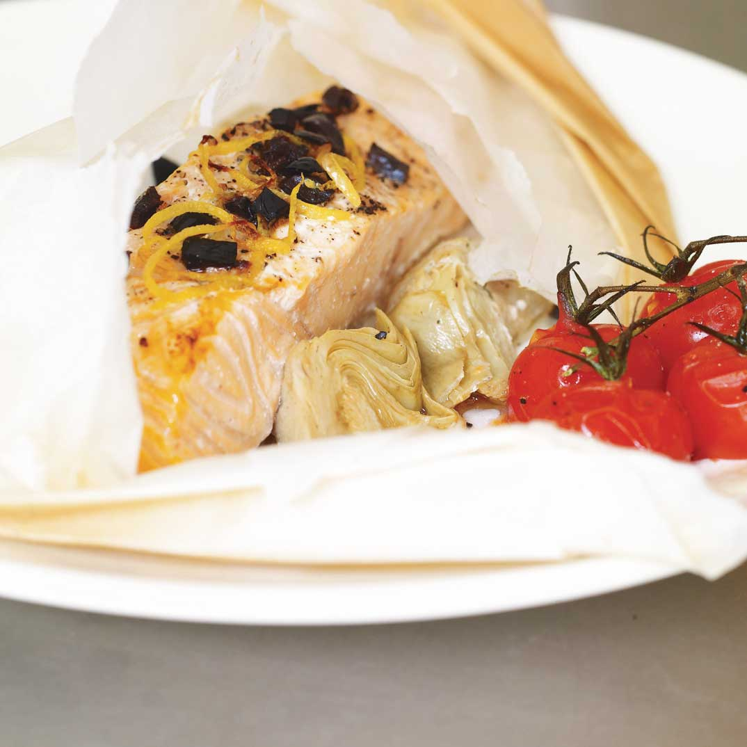 Salmon Papillotes with Artichokes and Black Olives