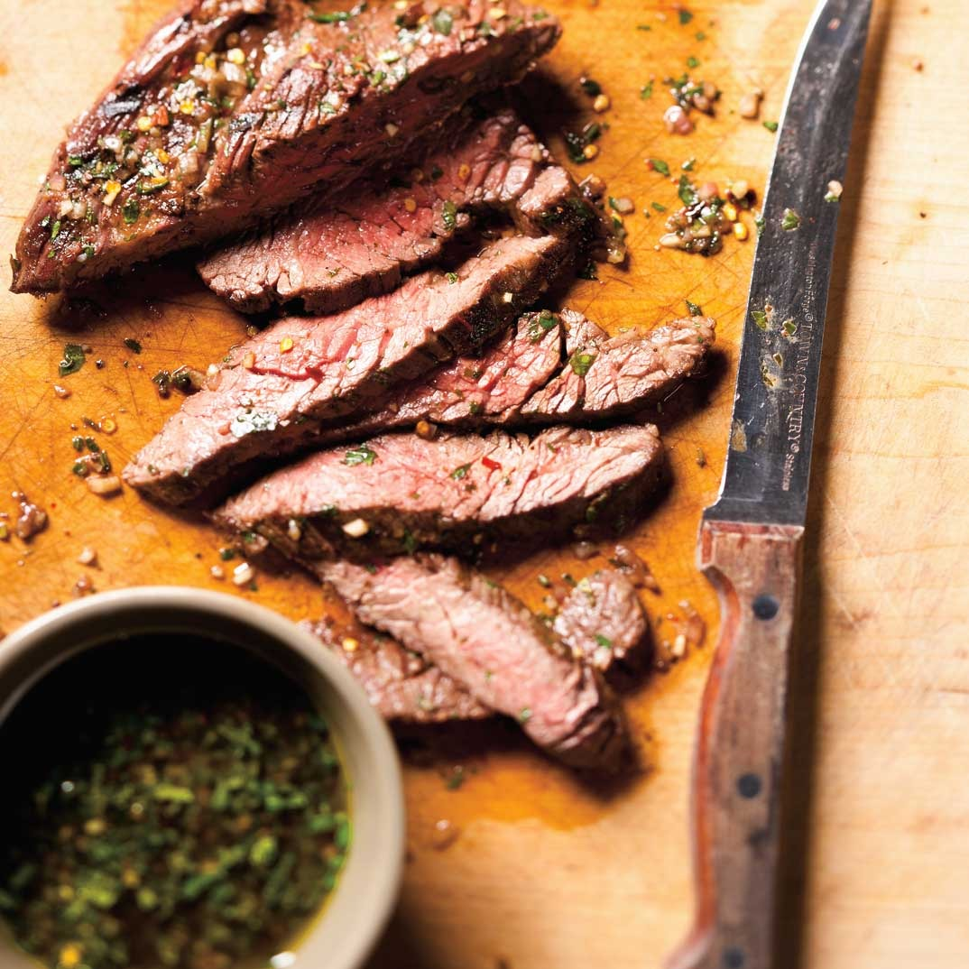 Flank Steaks with Chimichurri Sauce