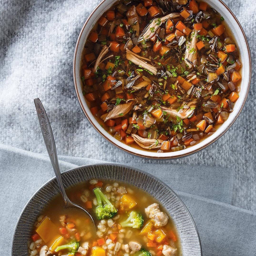 Soupe de riz sauvage au canard confit