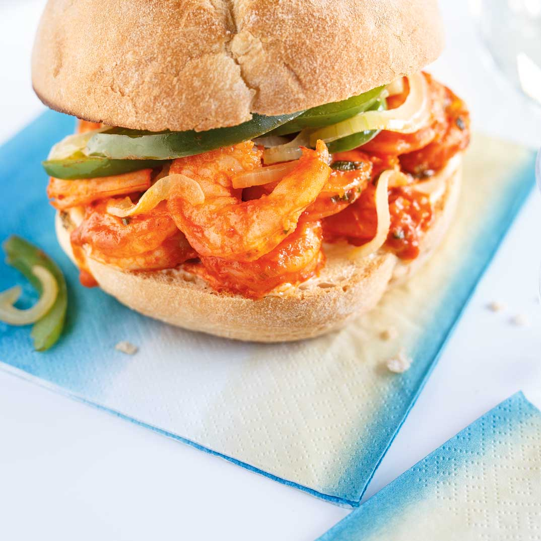 Sandwich aux crevettes poêlées au bourbon