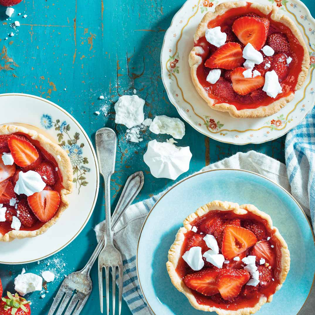 Strawberry Tartlets with Crushed Meringue
