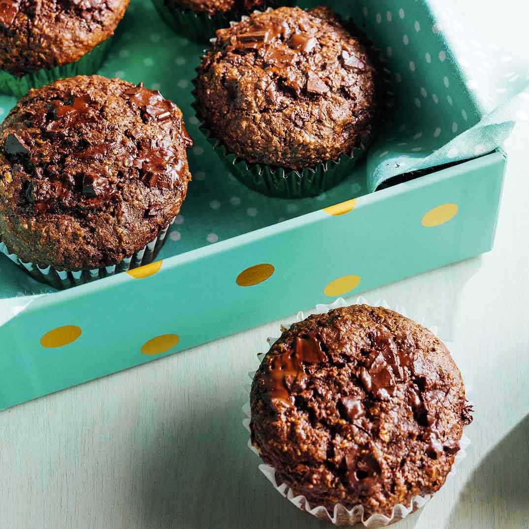 Muffins au son et double chocolat
