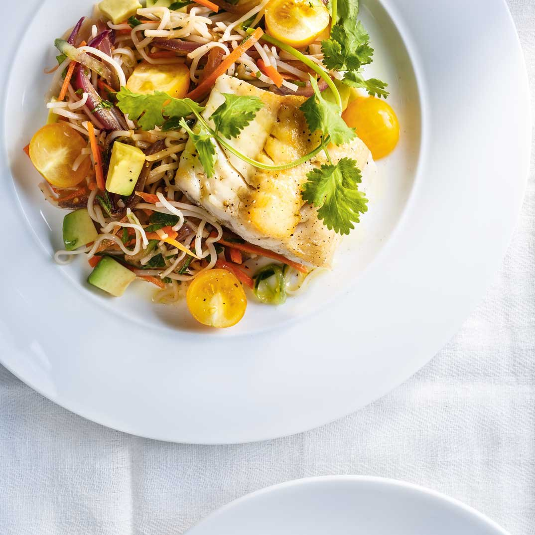 Seared Fish with Vegetable Vermicelli