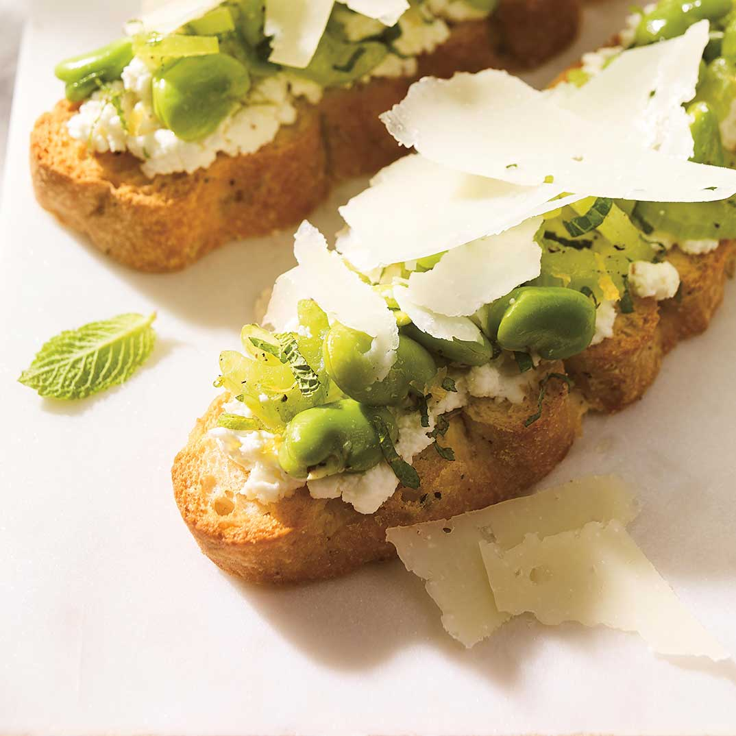 Fava Bean and Ricotta Toasts