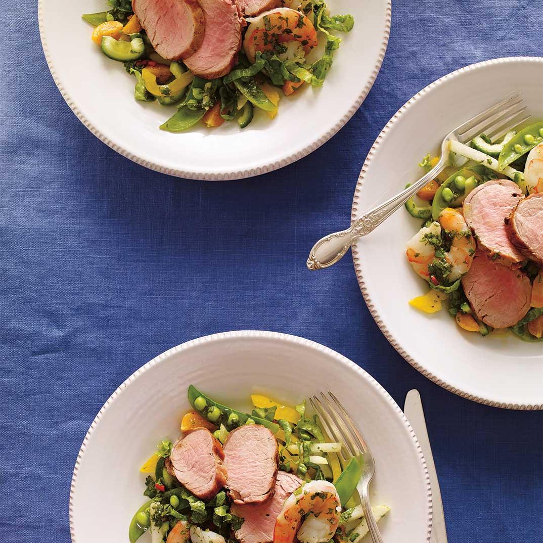 Salade de filet de porc et de crevettes