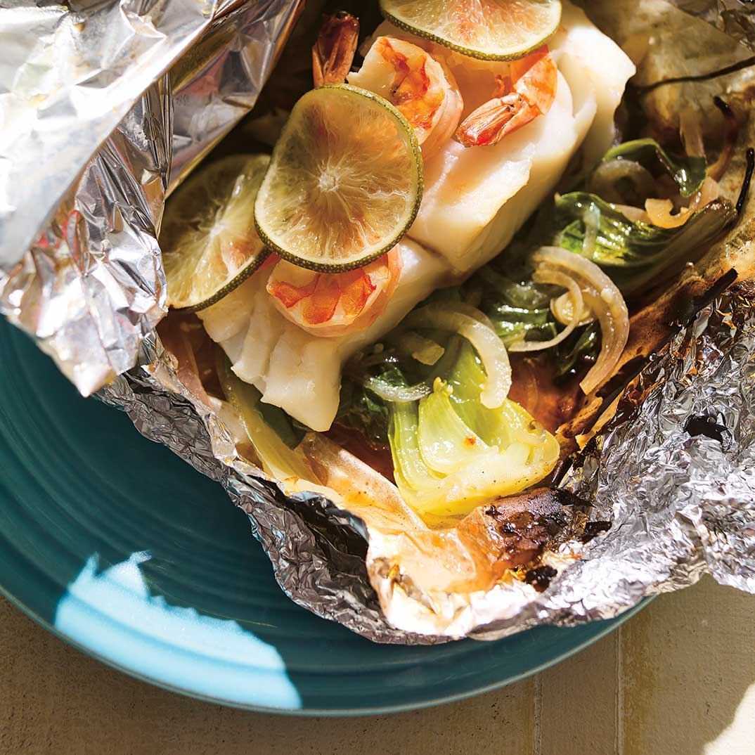 Cod, Shrimp and Bok Choy Papillote