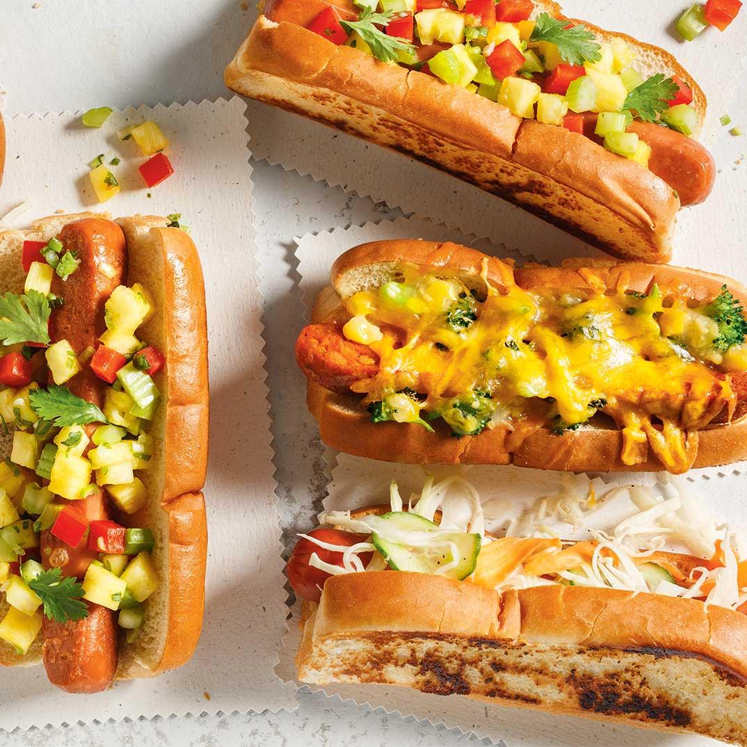 Hot-dogs à la salsa de poivron et d'ananas