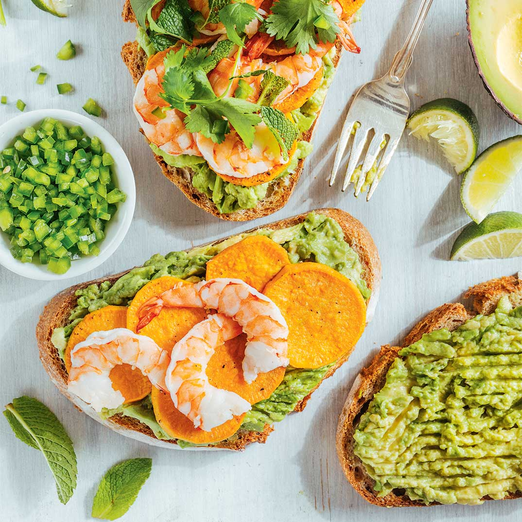 Sweet Potato, Shrimp and Avocado Toasts