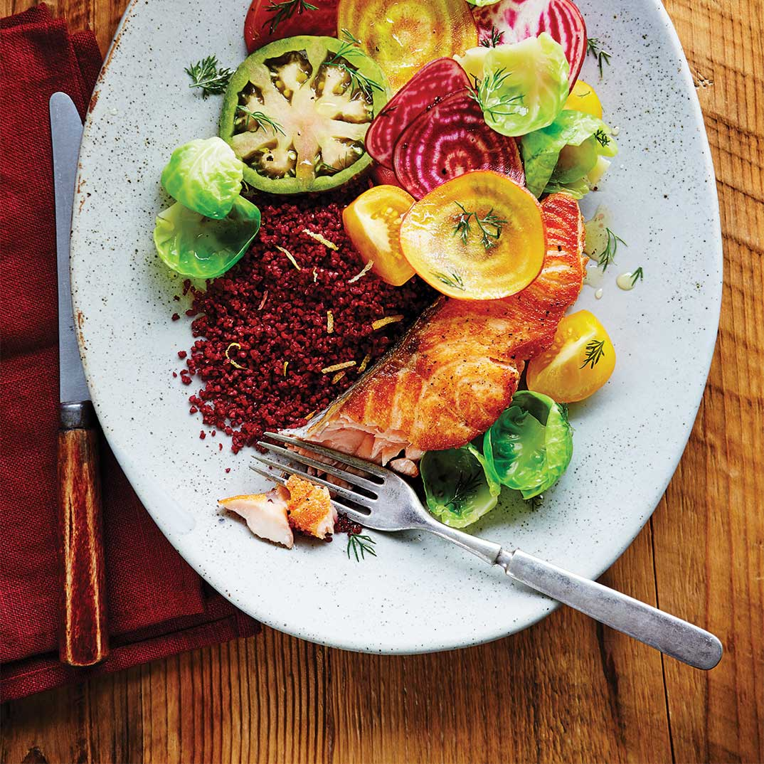Seared Salmon with Bulgur and Beets