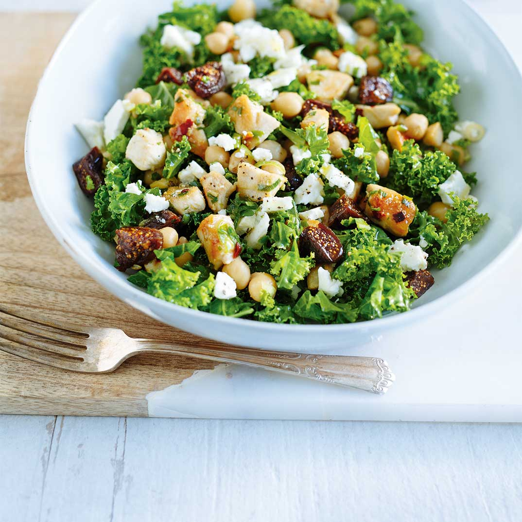 Kale Salad with Chicken and Figs
