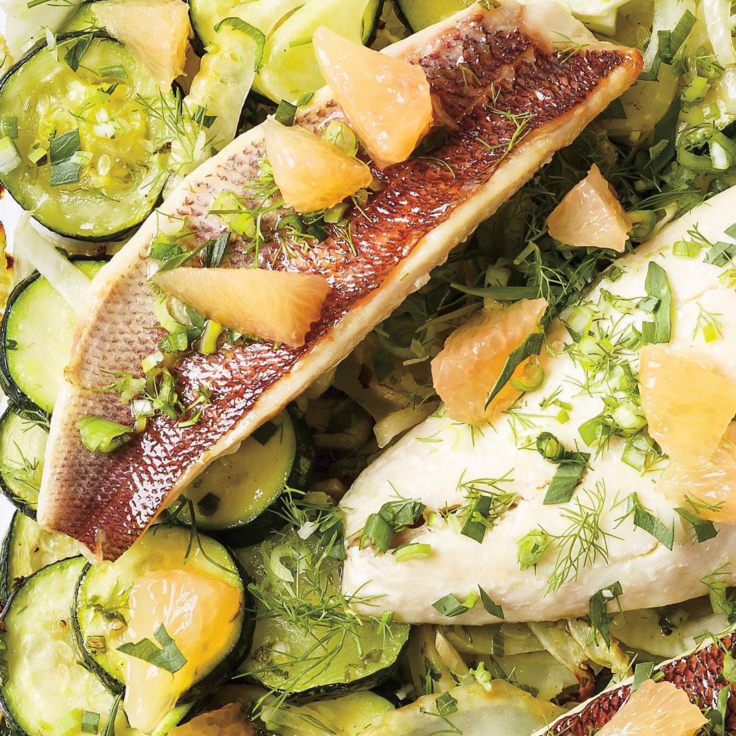 Red Snapper with Stewed Zucchini and Herbs