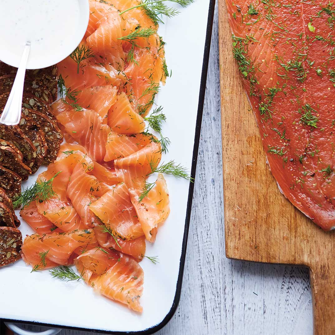 Gin and Honey-Cured Salmon Gravlax