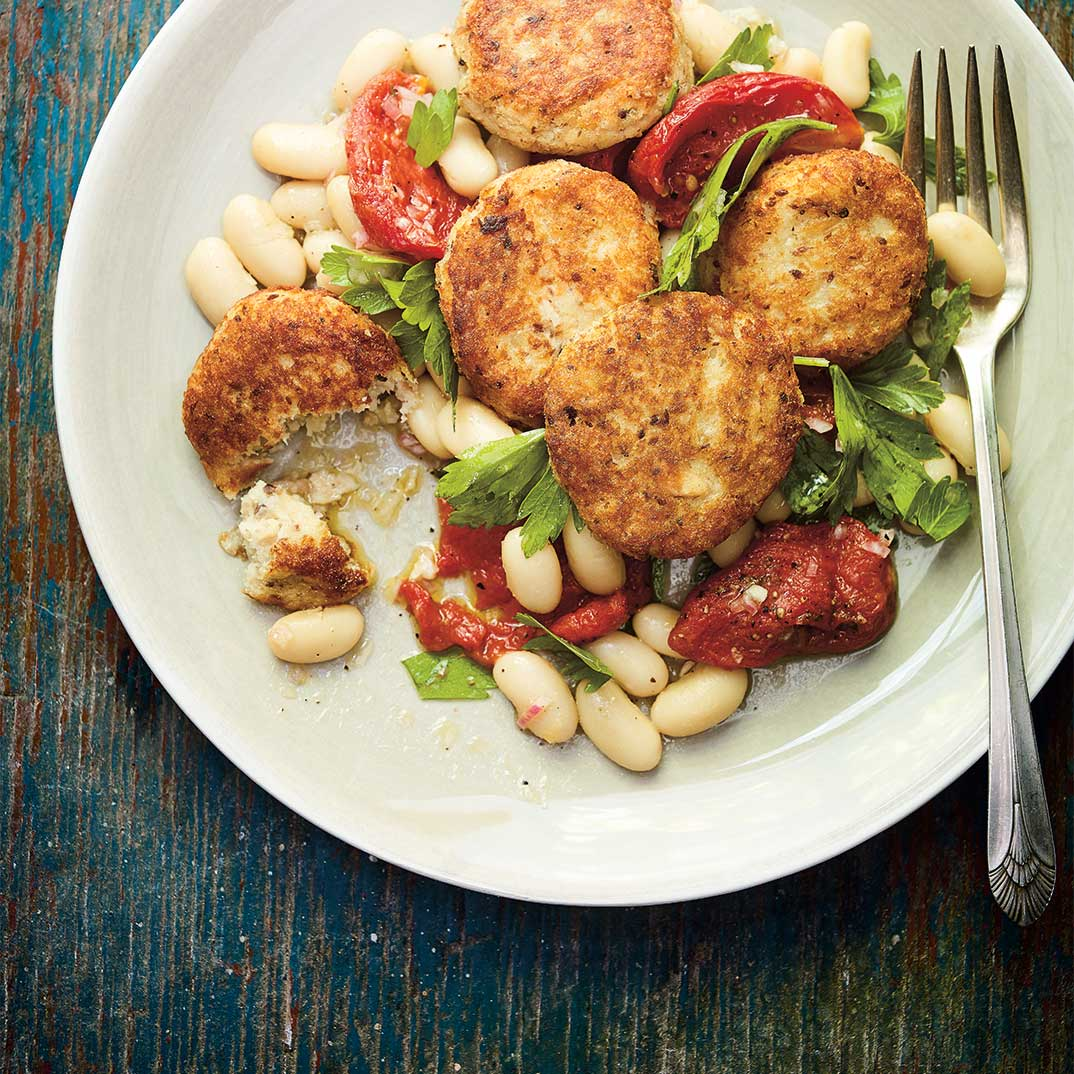 Sardine Croquettes with White Bean and Tomato Confit Salad