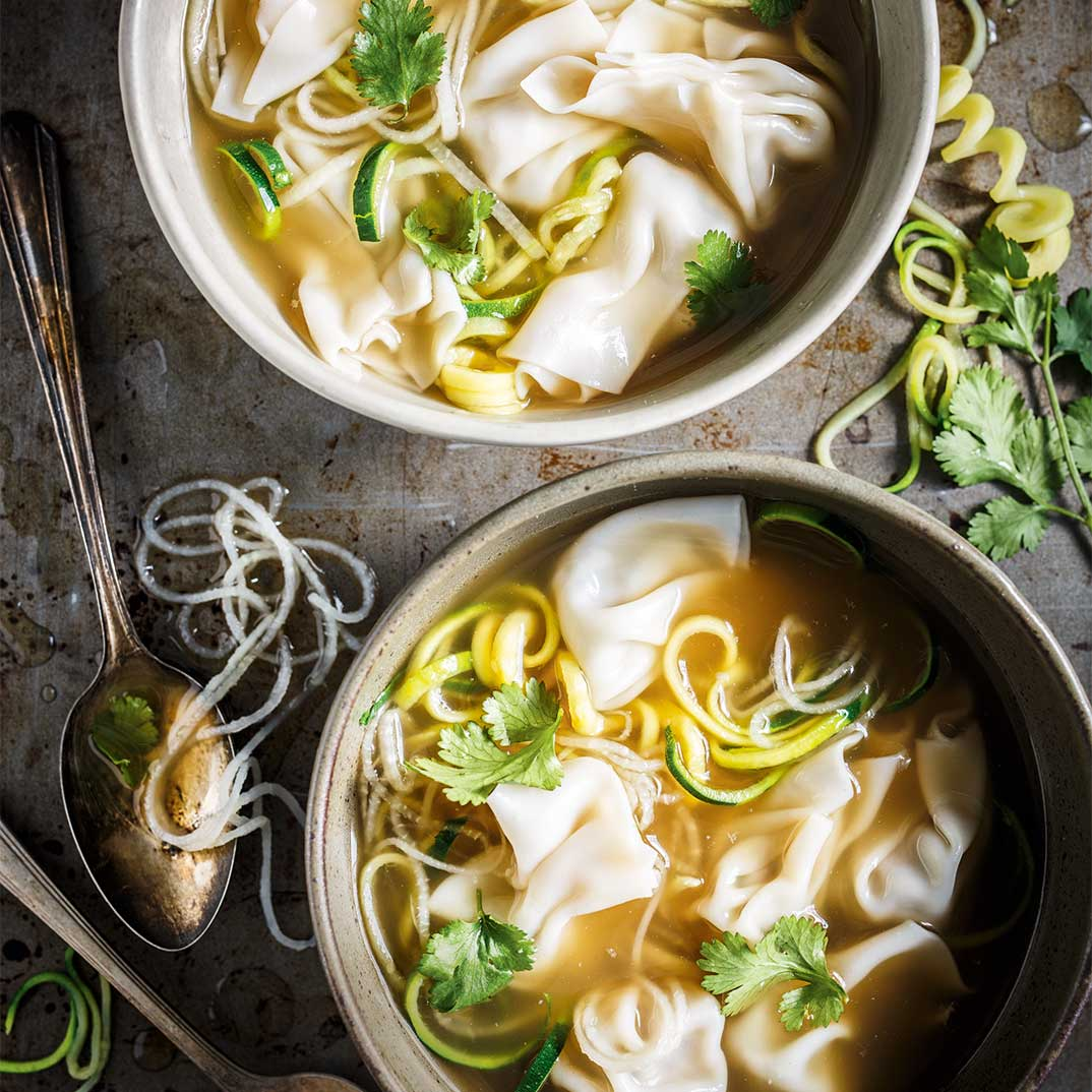 Lemongrass Wonton Soup with Vegetable Spirals