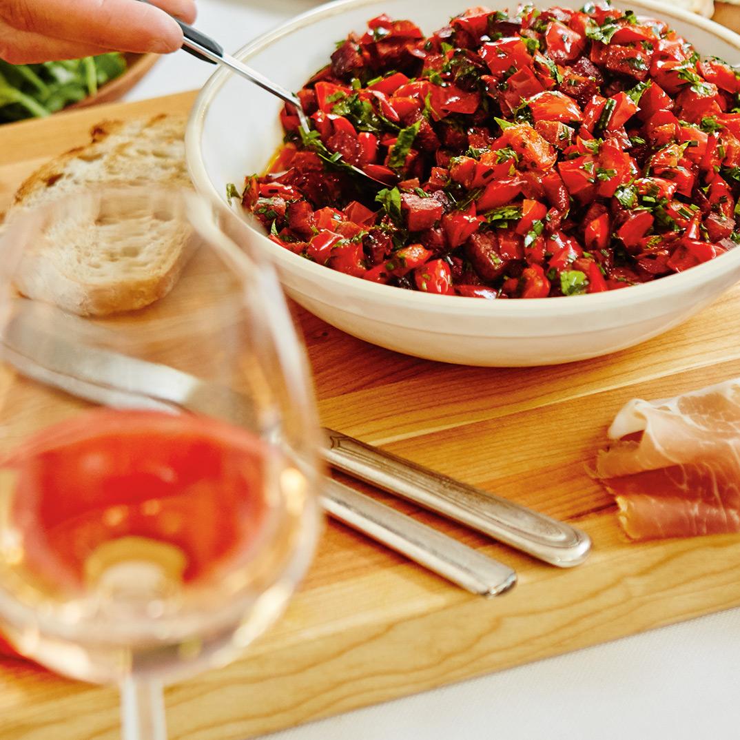 Poivrons confits et pancetta