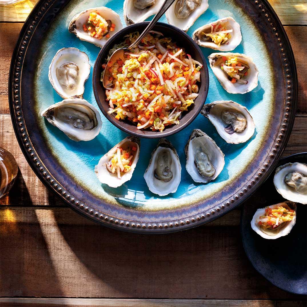 Huîtres au BBQ et kimchi minute