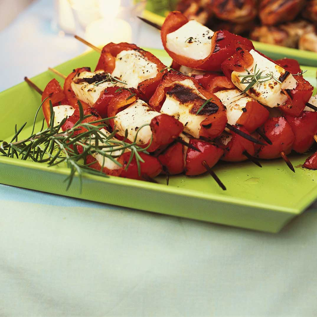 Halloumi Cheese and Roasted Bell Pepper Miniature Skewers