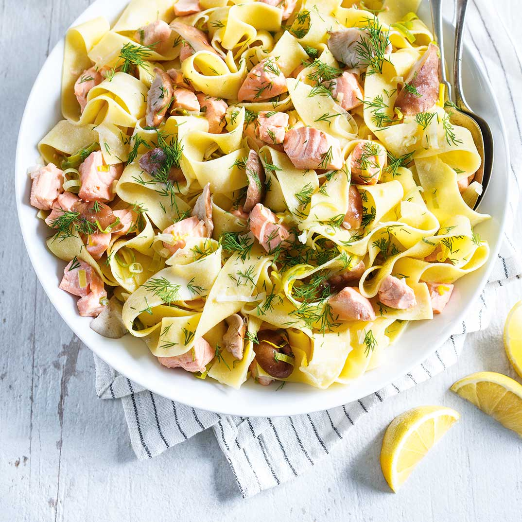 Pappardelle with Salmon and Shiitake Mushrooms
