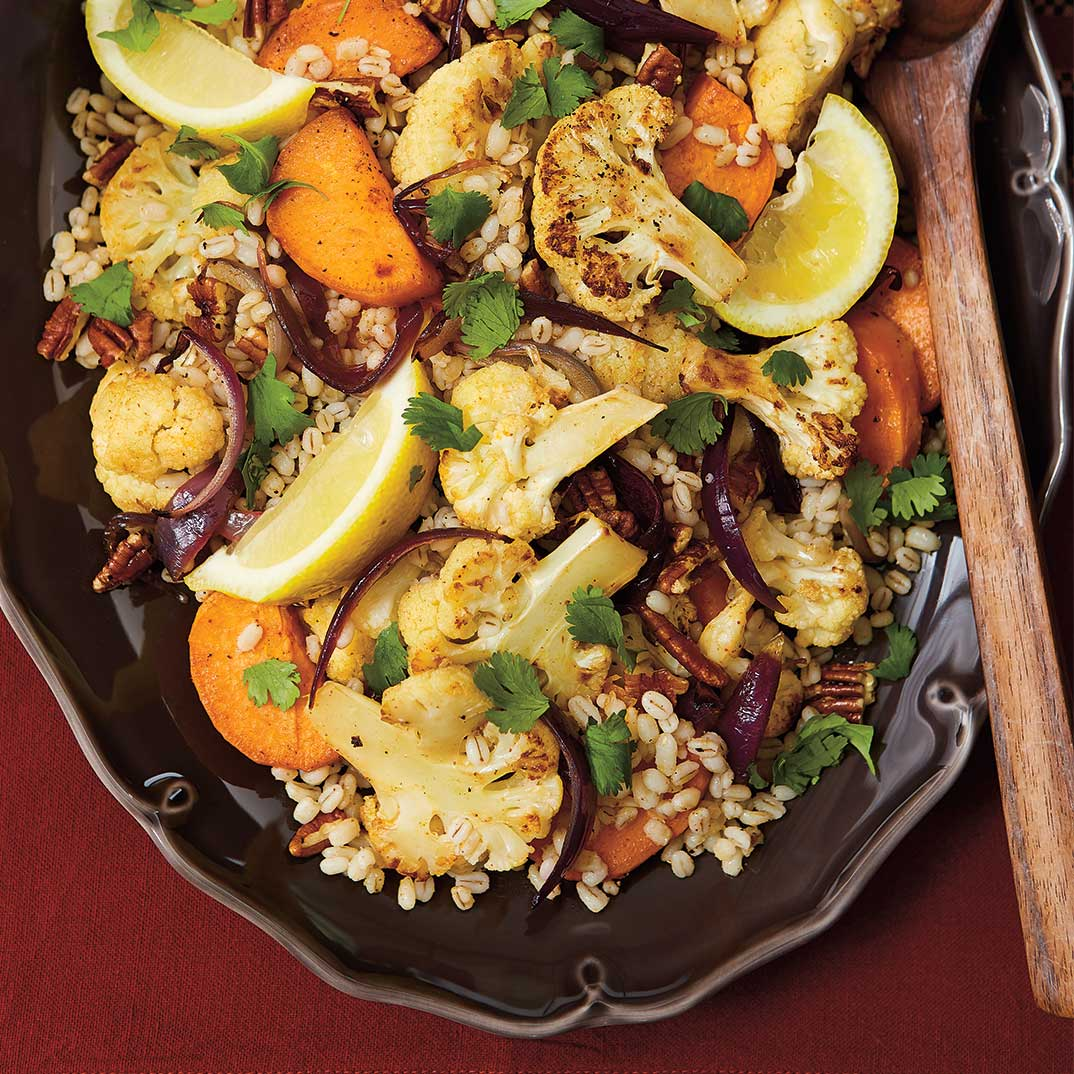 Roasted Cauliflower, Sweet Potato and Barley Salad