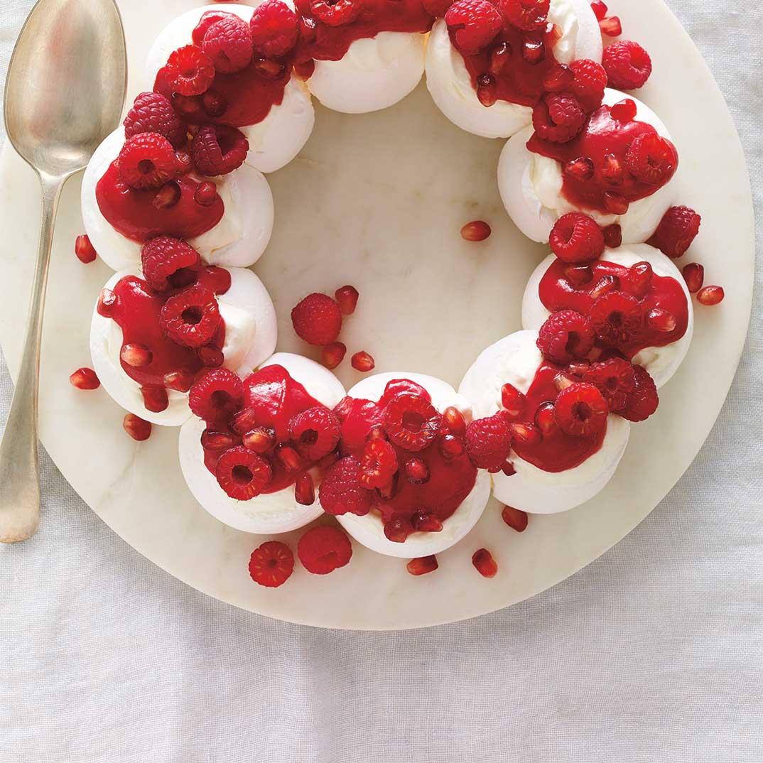 Raspberry and Pomegranate Pavlova Wreath