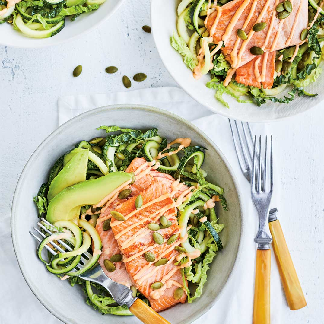 Seared Trout and Zucchini Salad with Pumpkin Seeds