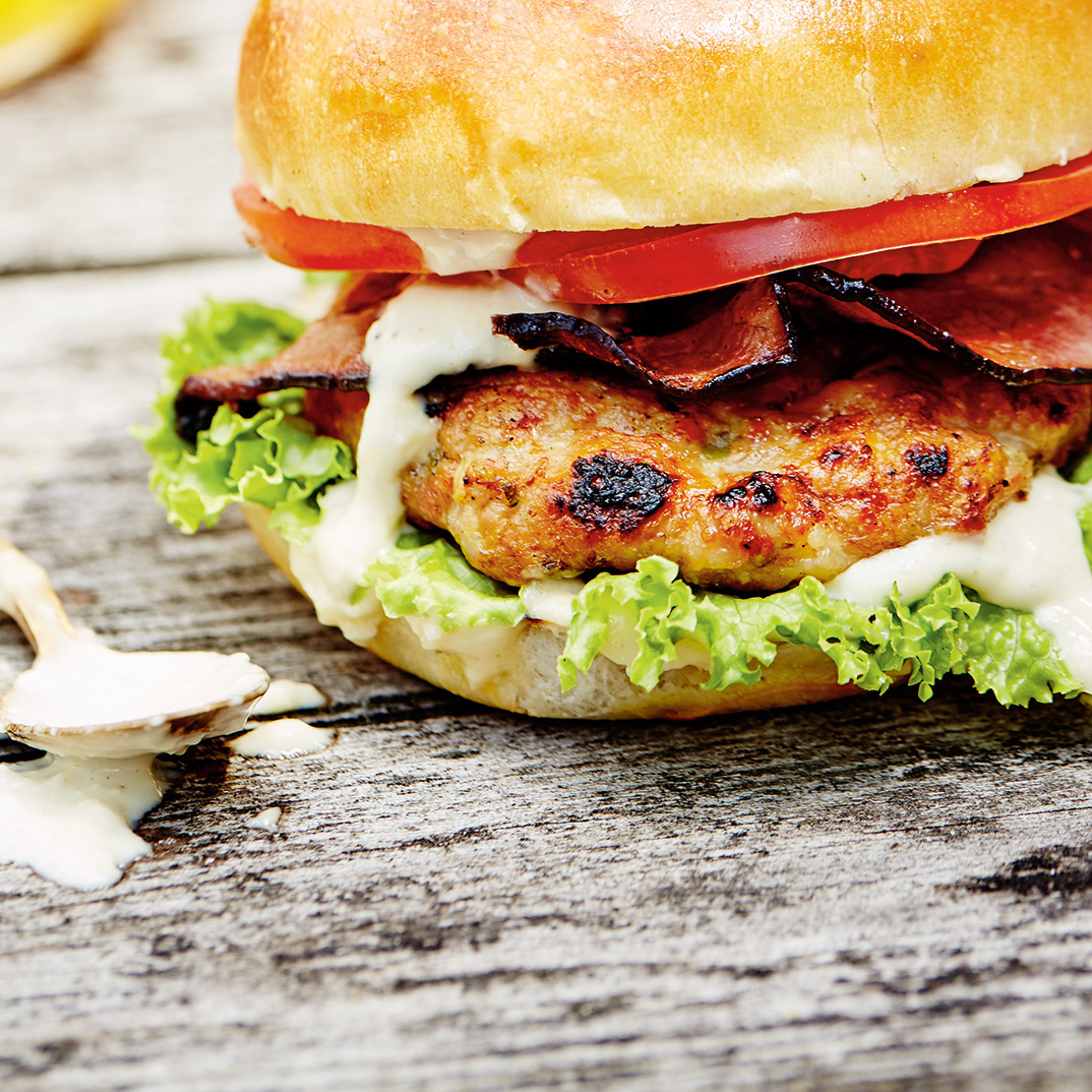 Chicken Burgers with Bacon and Caper-Mayonnaise Sauce