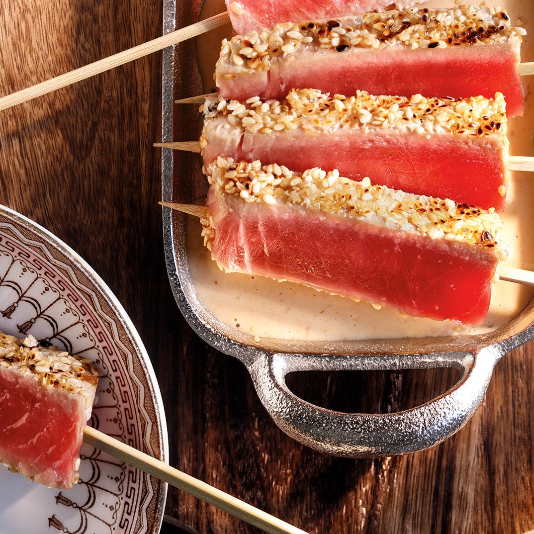 Brochettes de tataki de thon