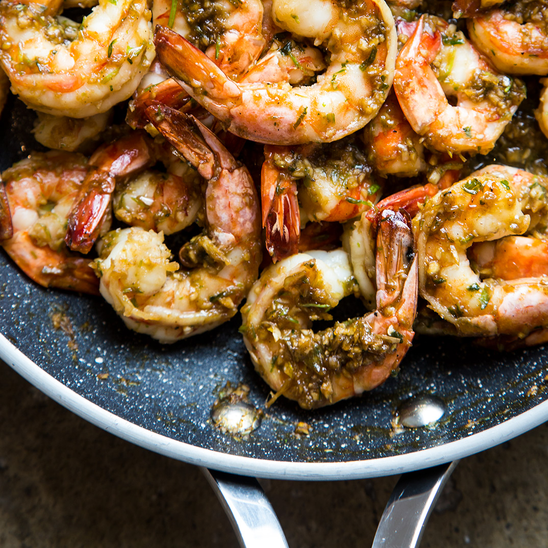Shrimp and Cilantro Root Stir-Fry