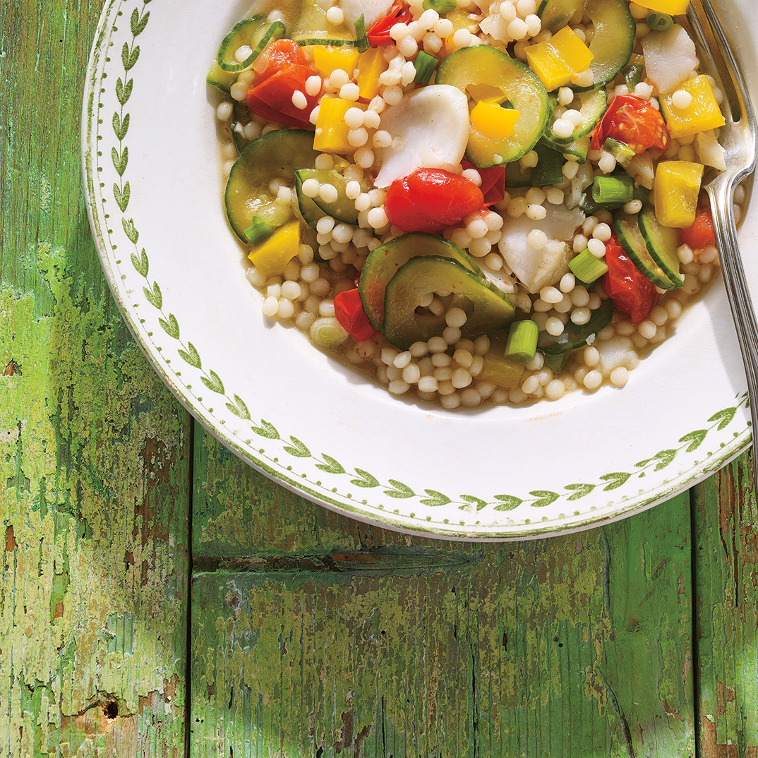 Israeli Couscous with Poached Fish and Vegetables
