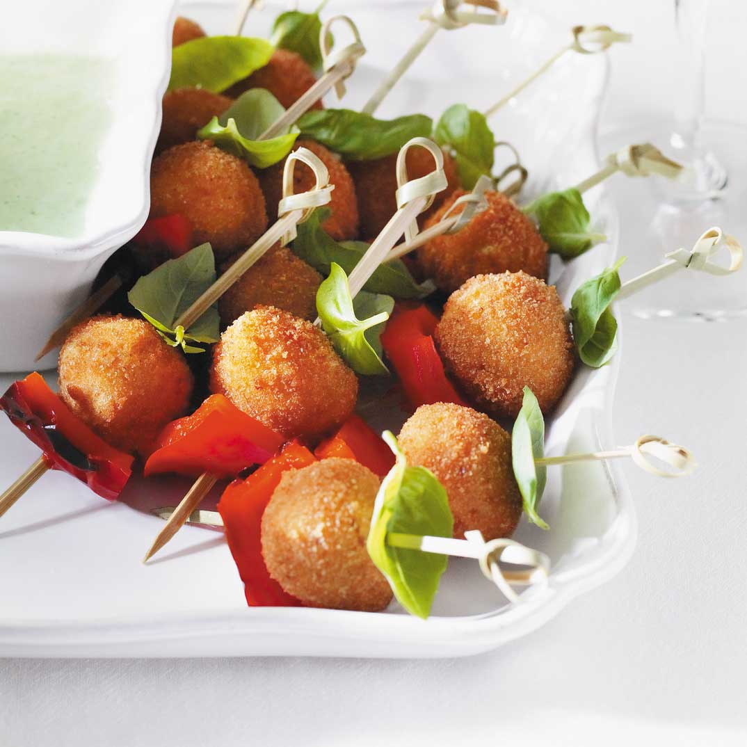 Bocconcini Croquettes with Basil and Red Pepper