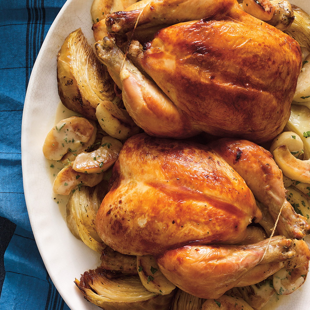 Roasted Chicken with Cabbage and Glazed Apples