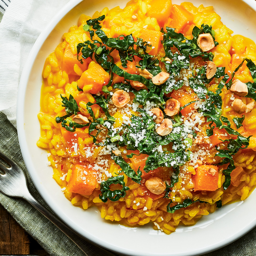 Squash Risotto with Tuscan Kale