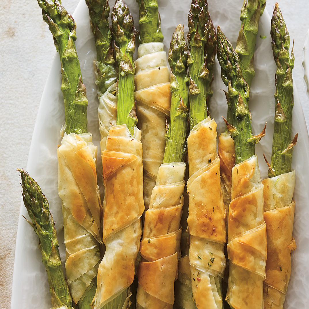 Phyllo-Wrapped Asparagus with Herb Sauce