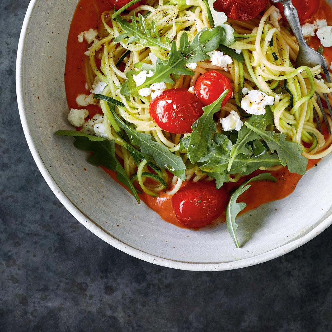 Spaghettis et courgettes sauce rosée