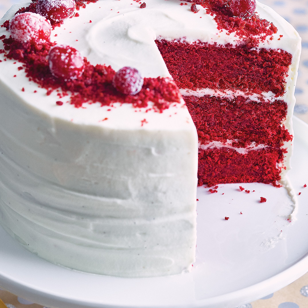 Red Velvet Cake with Frosted Cranberries