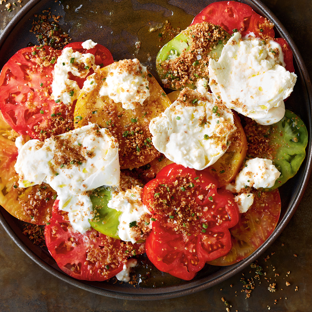 Tomatoes with Burrata and Almond Breadcrumbs