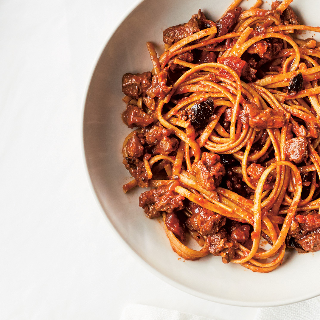 Pressure Cooker Linguini with Stewed Lamb and Olives