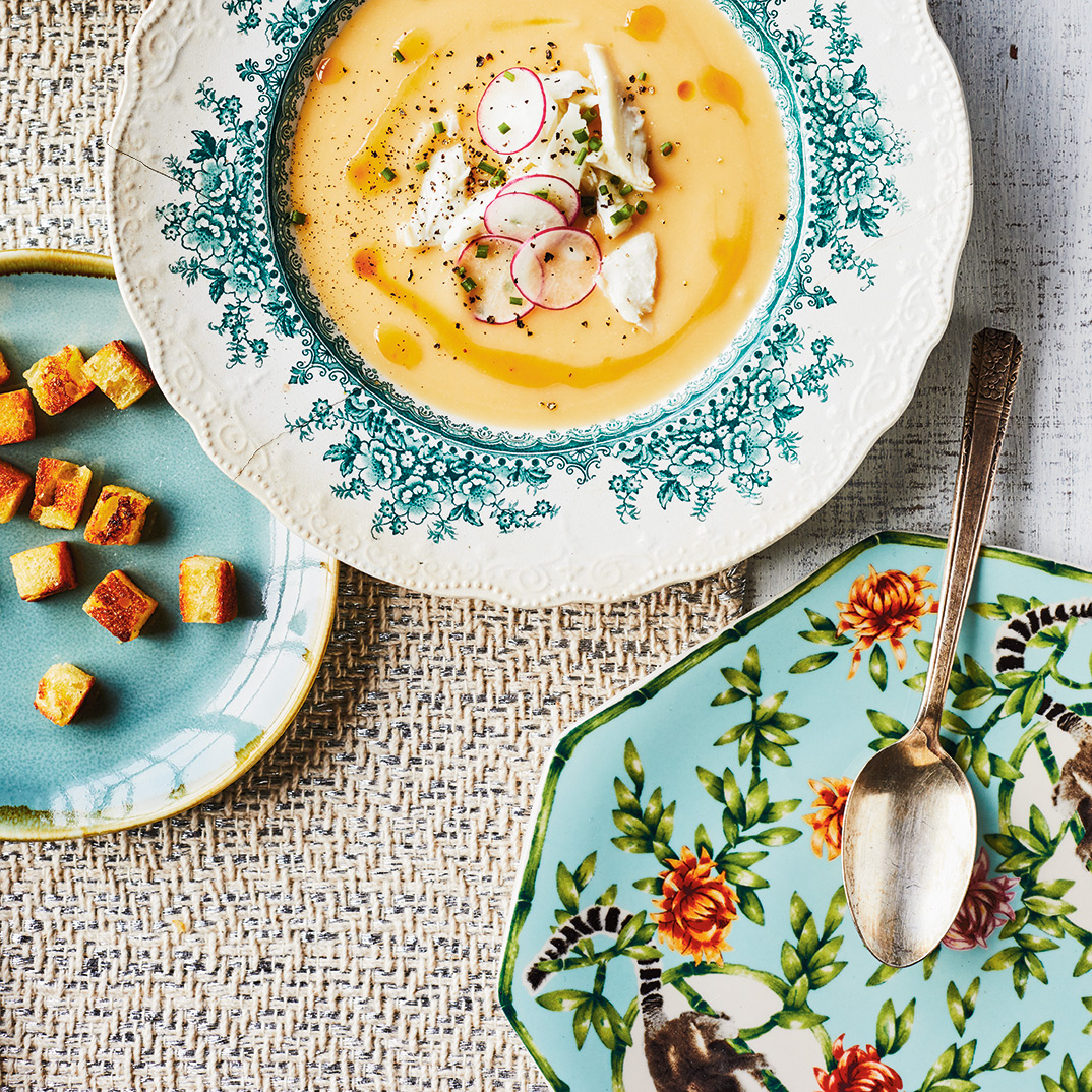 Root Vegetable and White Fish Cream Soup