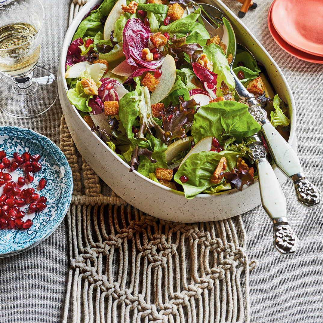 Crunchy Green Salad with Pear, Pomegranate and Spiced Croutons