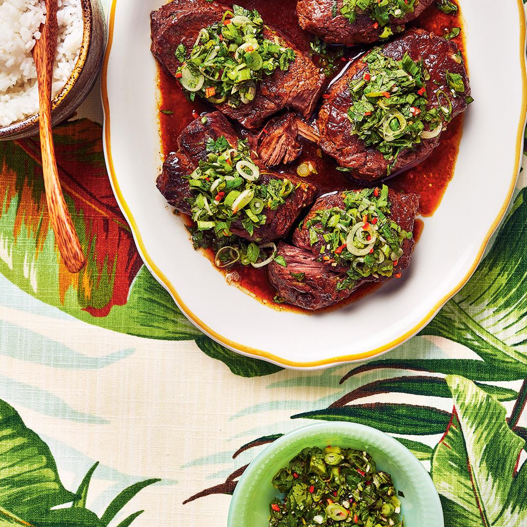 Pressure Cooker Braised Beef with Fresh Herb Salad