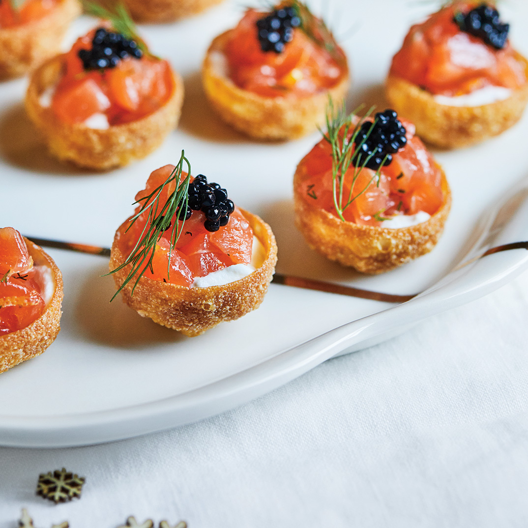 Salmon Gravlax and Mustard Cream Canapés