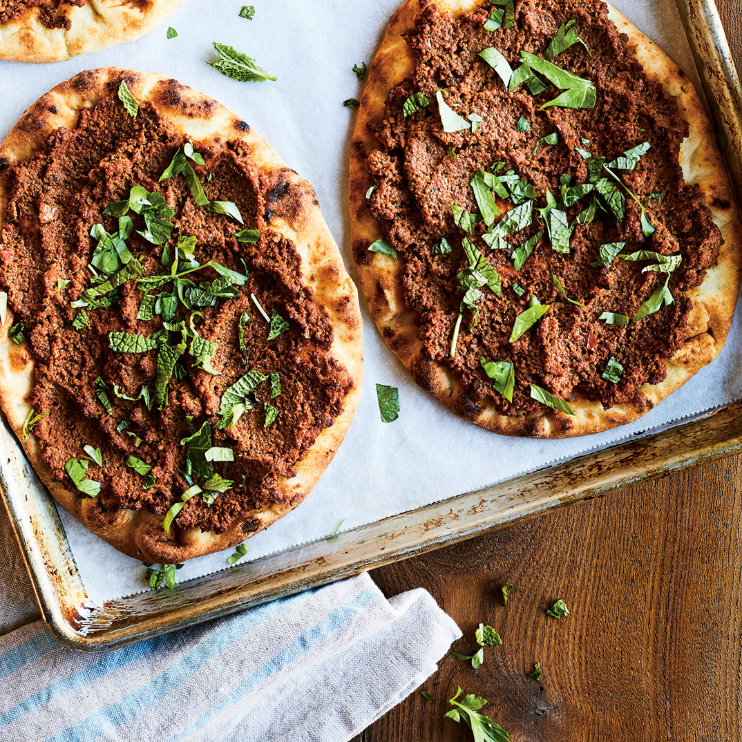 Flatbread Pizzas with Ground Meat (<i>Lahmajoun</i>)