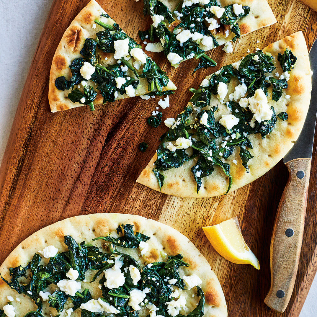 Flatbread Pizzas with Spinach and Feta