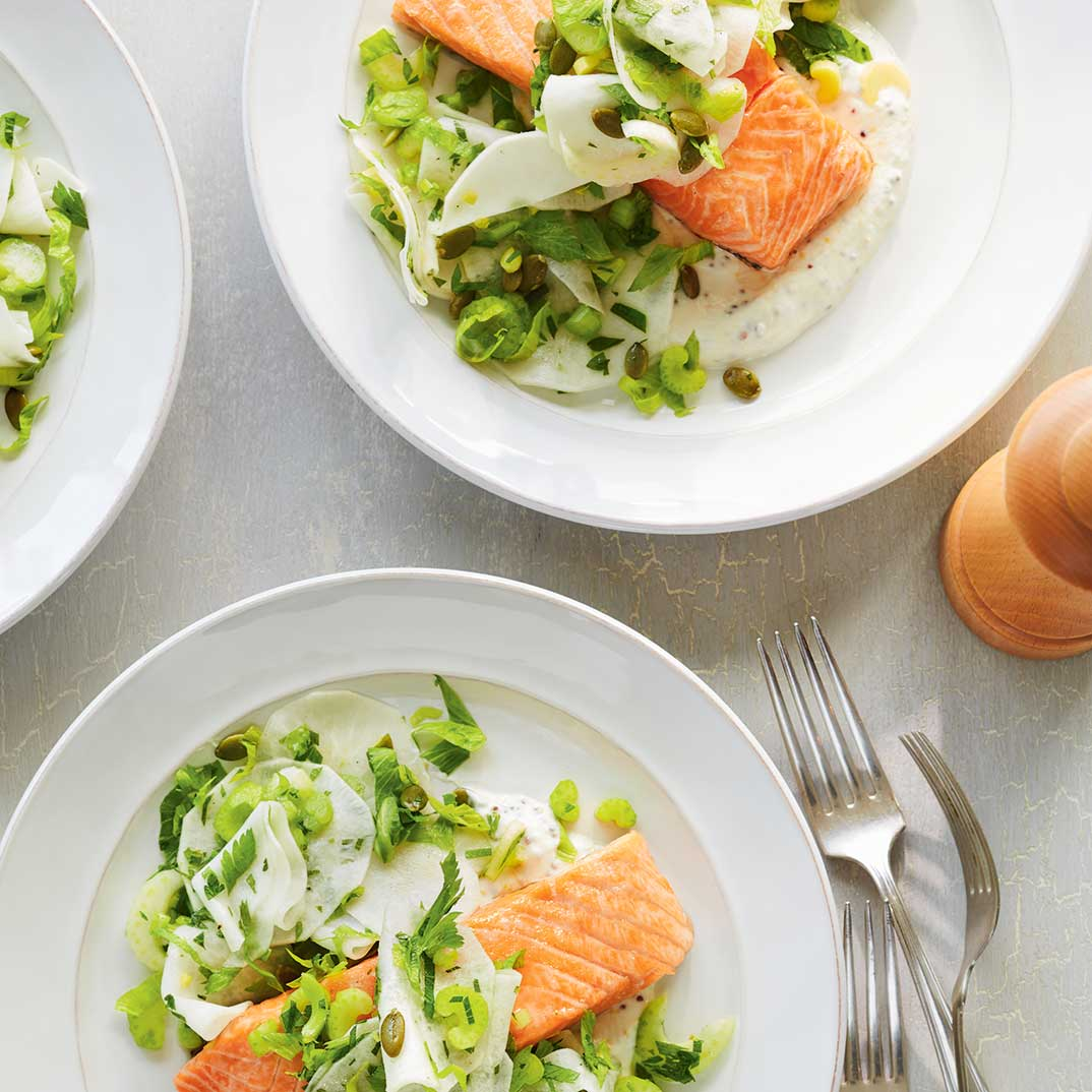 Baked Salmon with Lemony Kohlrabi Slaw