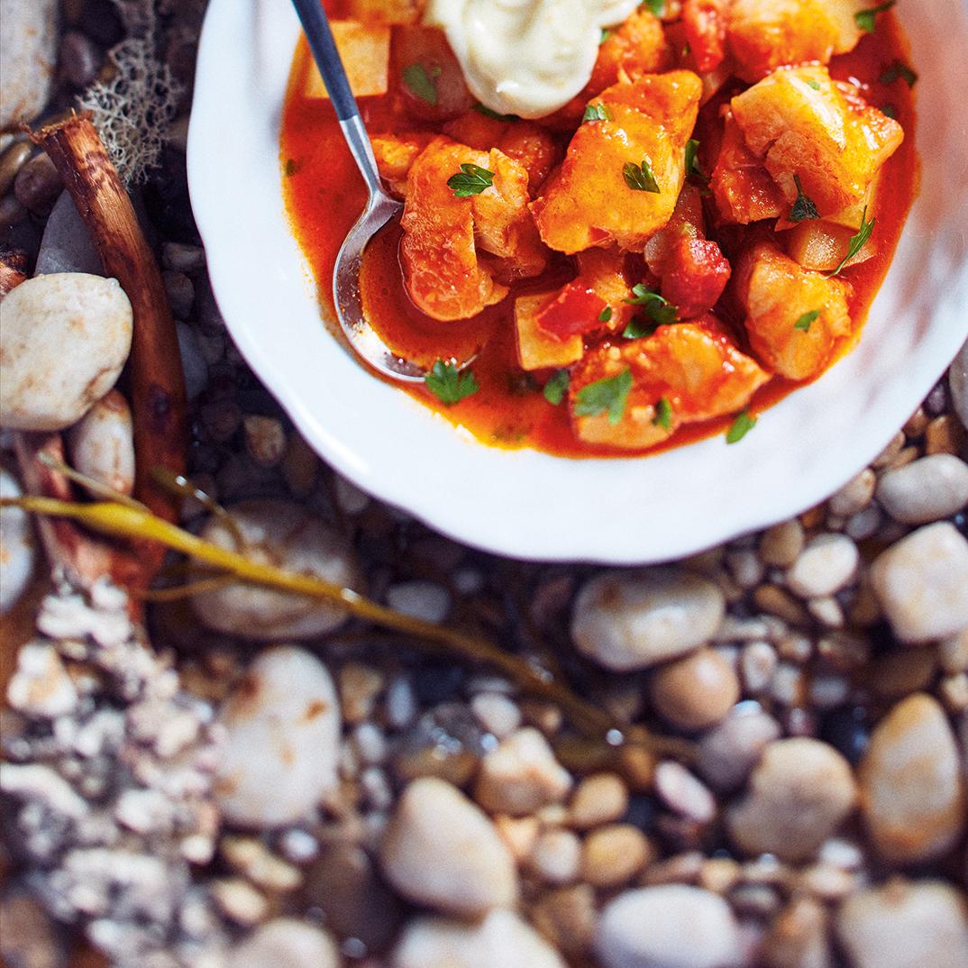 Hake and Potato Stew with Roasted Garlic Mayonnaise