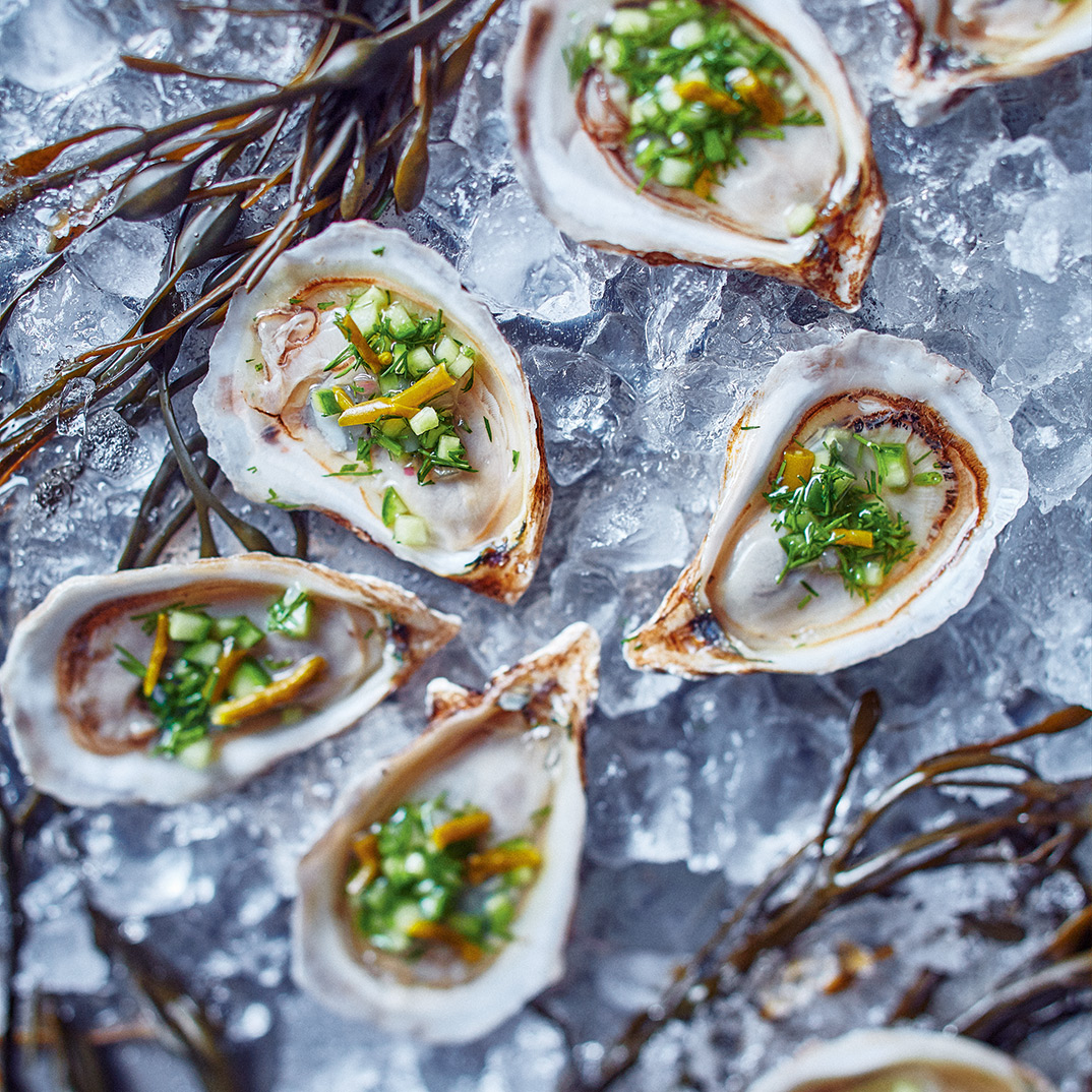 Oysters with Pickled Samphire, Cucumber and Dill