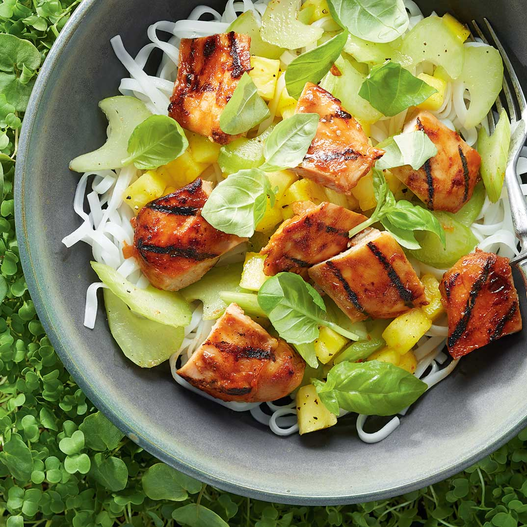 Barbecue Chicken Bowl with Celery and Pineapple Salad