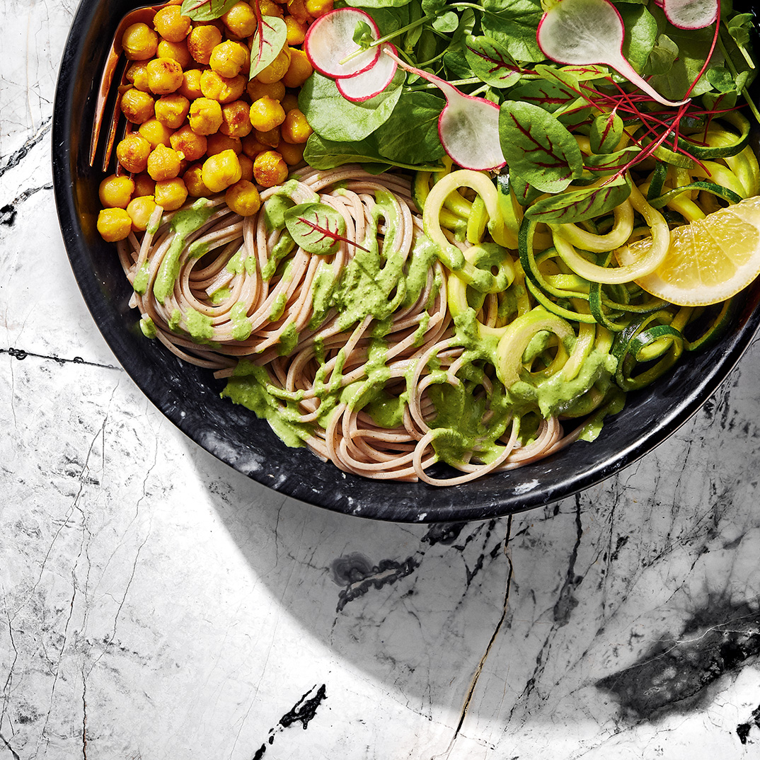 Warm Soba Noodle Salad with Green Goddess Dressing