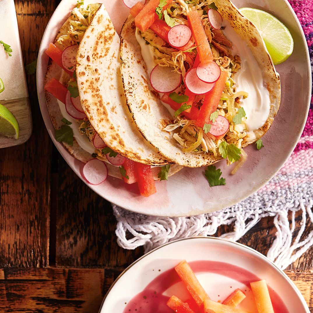 Chicken Tacos with Lime and Watermelon